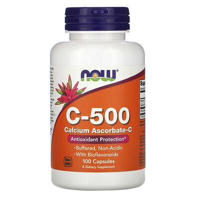 Купить Now Foods C- 500, Calcium Ascorbate- C, 100 Capsules
