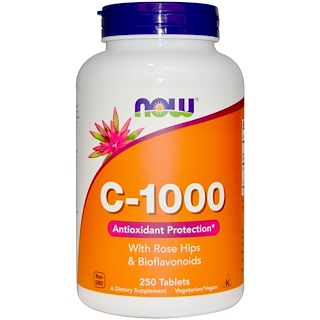 Now Foods, C-1000, With Rose Hips and Bioflavonoids, 250 Tablets