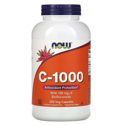 Now Foods C-1000, со 100 мг биофлавоноидов, 250 растительных капсул