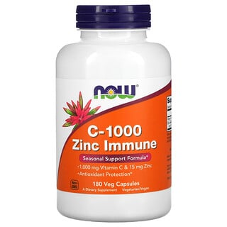Now Foods, C-1000 Zinc Immune , 180 Veg Capsules