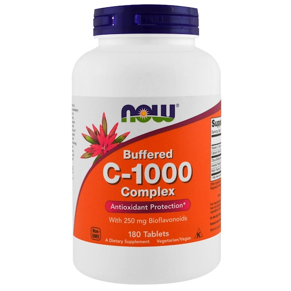 Now Foods, C-1000, calcio neutralizado, 180 pastillas