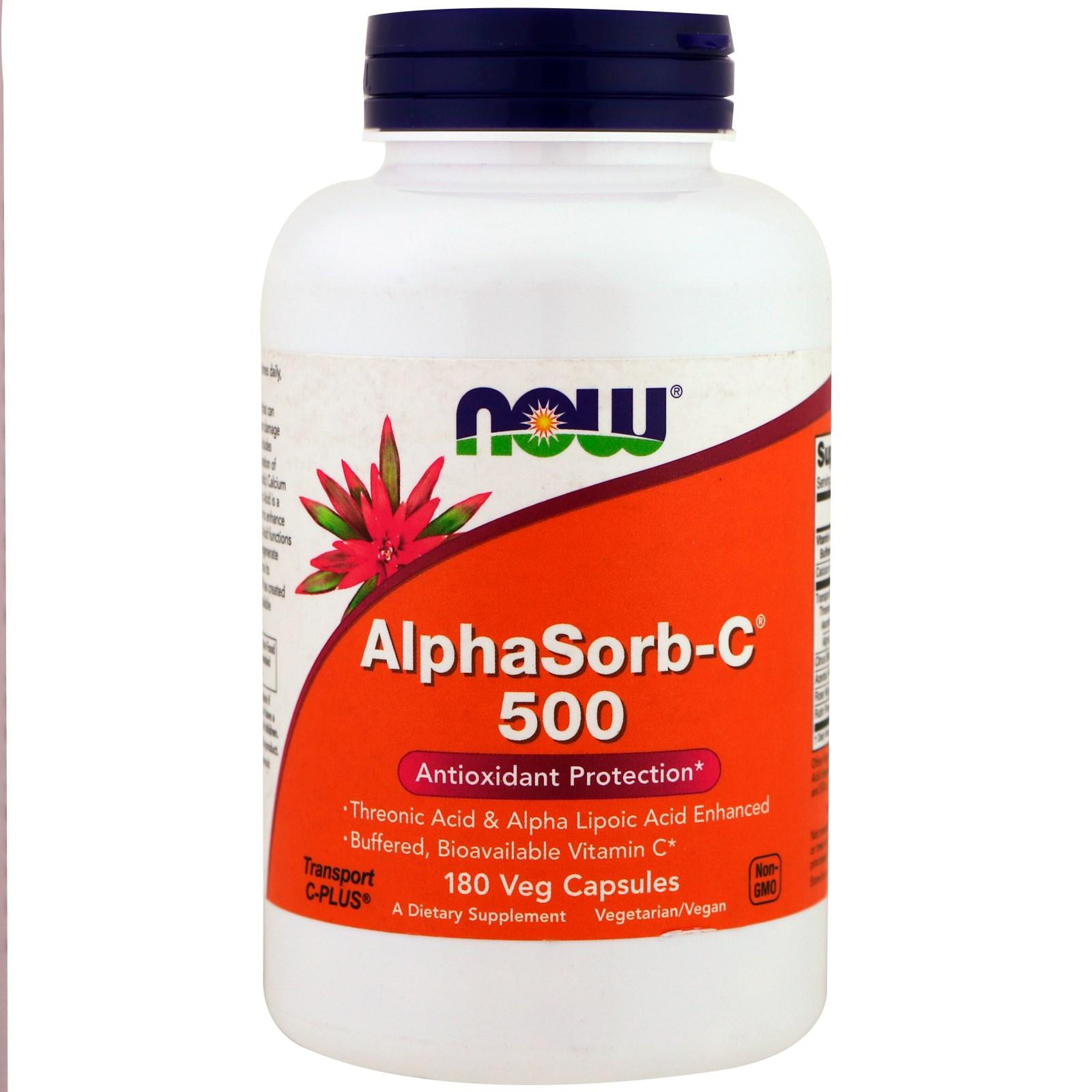 Now Foods, AlphaSorb-C 500, 180 вегетарианских капсул