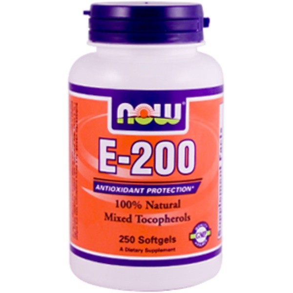 Now Foods, E-200, 100% Natural d-Alpha Tocopheryl, 250 Softgels (Discontinued Item)
