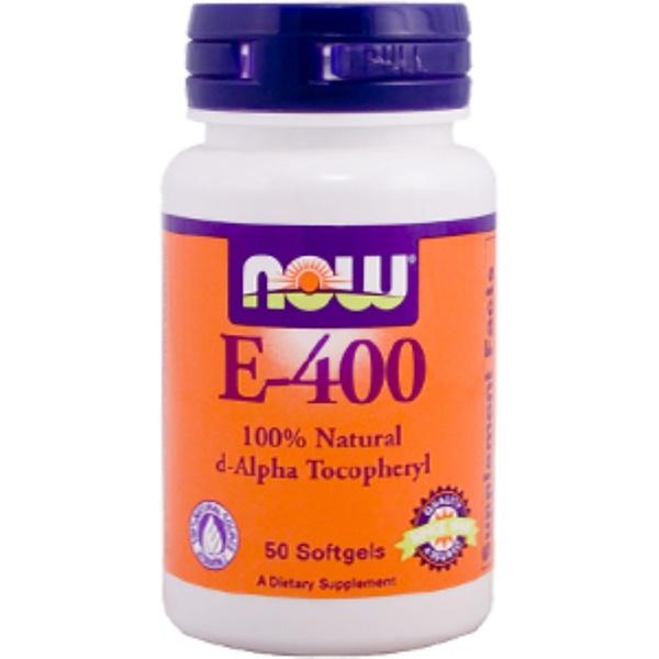 Now Foods, E-400, 100% Natural d-Alpha Tocopheryl, 50 Softgels (Discontinued Item)