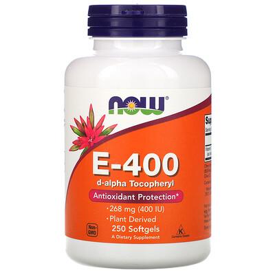 Купить Now Foods натуральный витаминE-400, 268мг, 250капсул