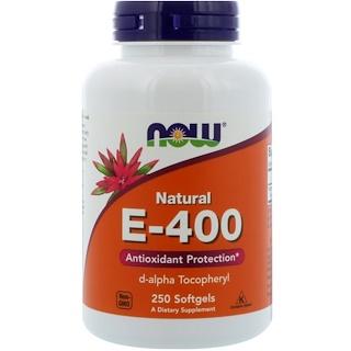 Now Foods, Natural E-400, 250 cápsulas blandas