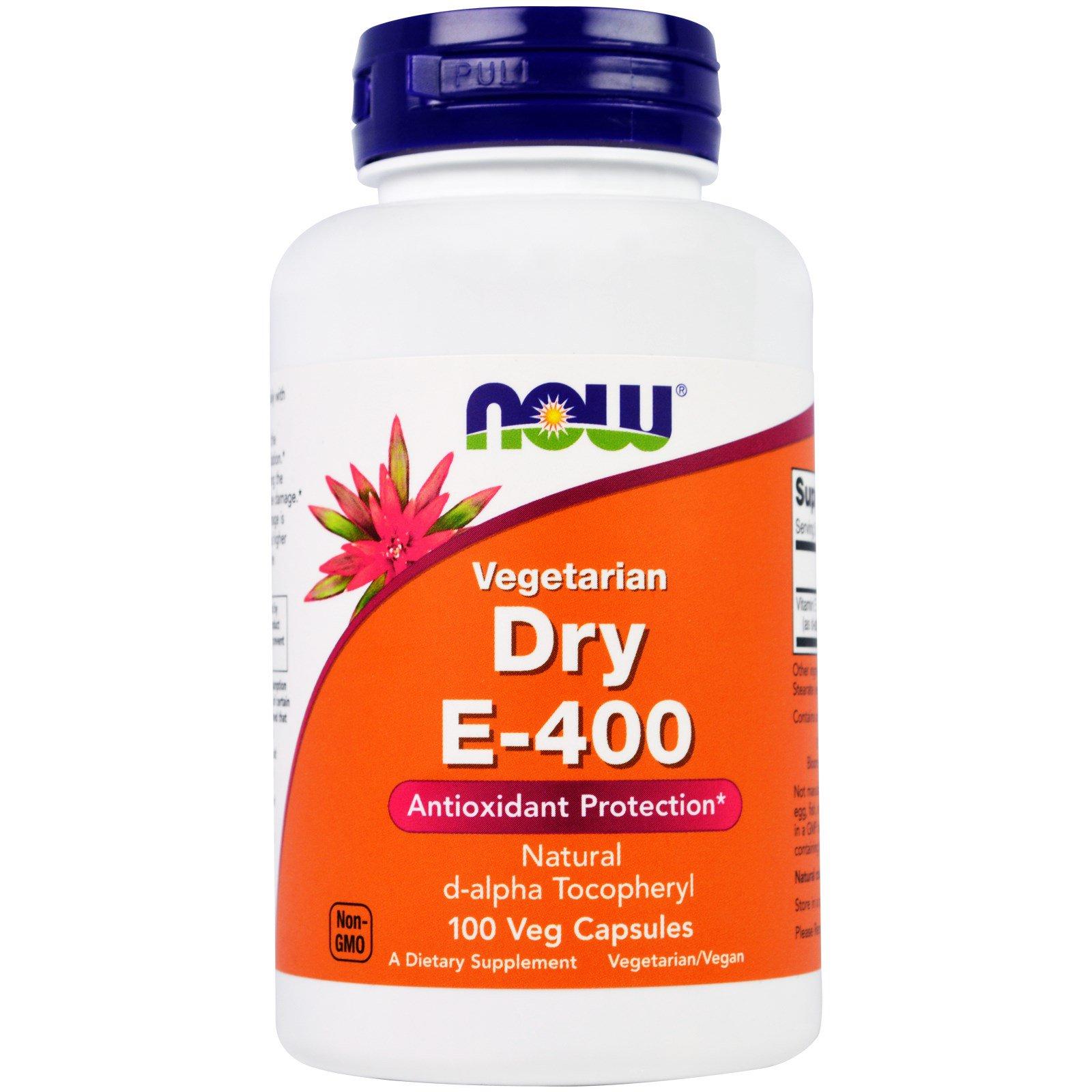 Now Foods, Сухой E-400, 100 растительных капсул