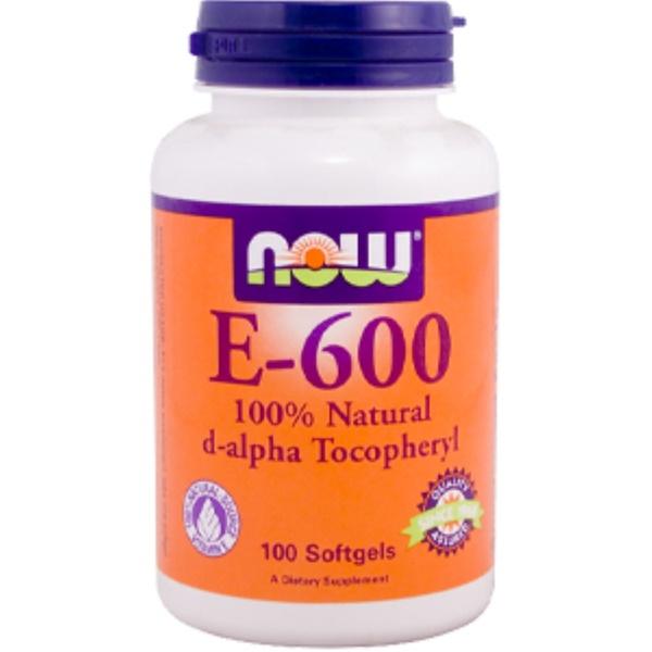 Now Foods, E-600, 100% Natural d-Alpha Tocopheryl, 100 Softgels (Discontinued Item)