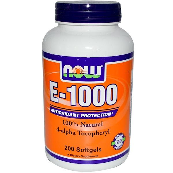 Now Foods, E-1000, 100% Natural D-Alpha Tocopheryl, 200 Softgels (Discontinued Item)