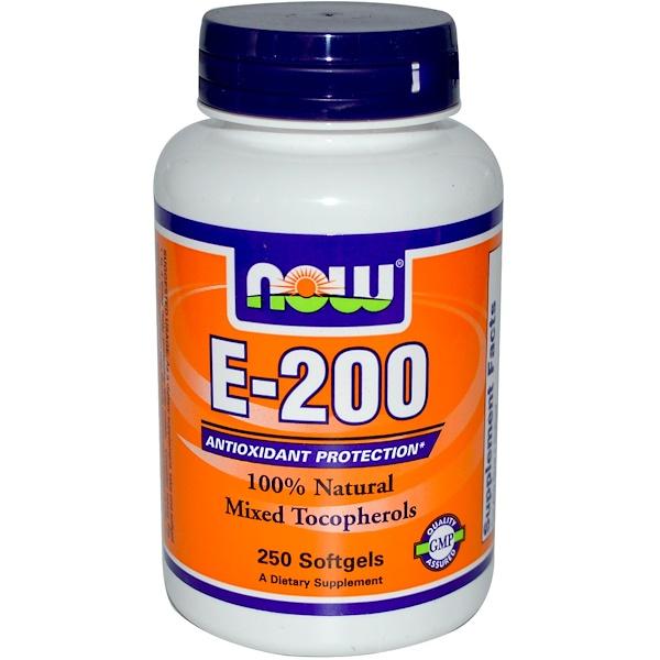 Now Foods, E-200, 100% Natural Mixed Tocopherols, 250 Softgels (Discontinued Item)