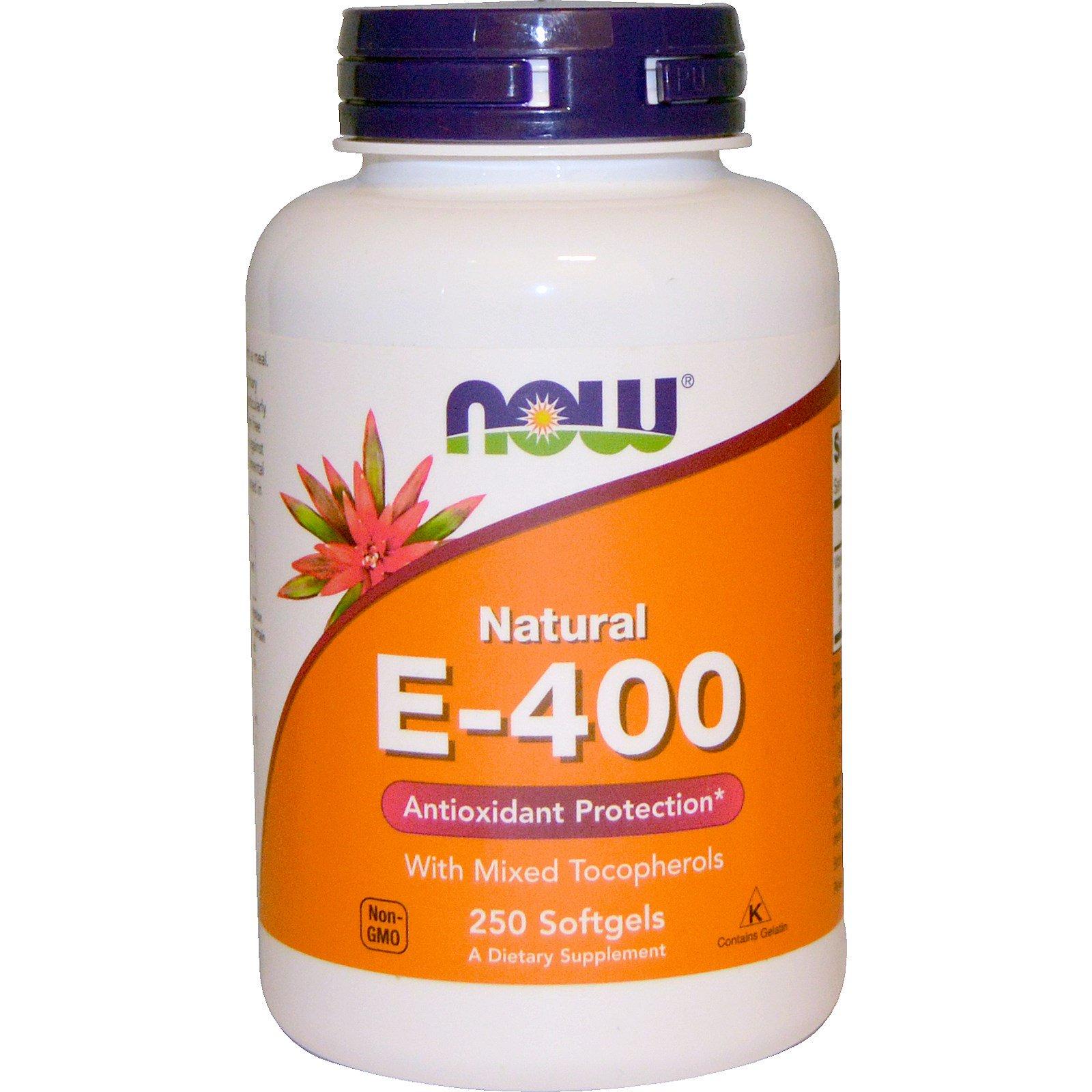 Now Foods, Натуральный витамин E-400 с разными типами токоферола, 250 желатиновых капсул