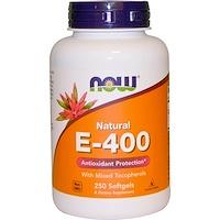 Натуральный витамин E-400 со смесью токоферолов, 250мягких таблеток - фото