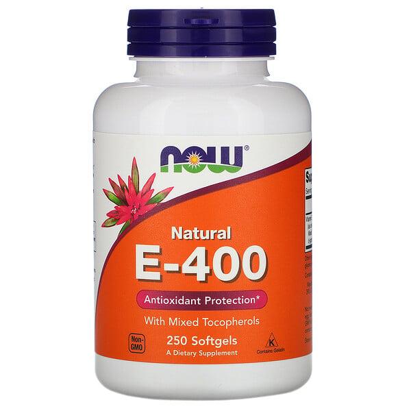 Now Foods, مزيج E-400 الطبيعي مع توكوبهيرولس، 250 كبسولة رخوة