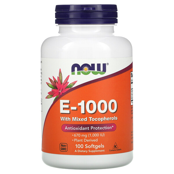 E-1000 with Mixed Tocopherols, 670 mg (1,000 IU), 100 Softgels
