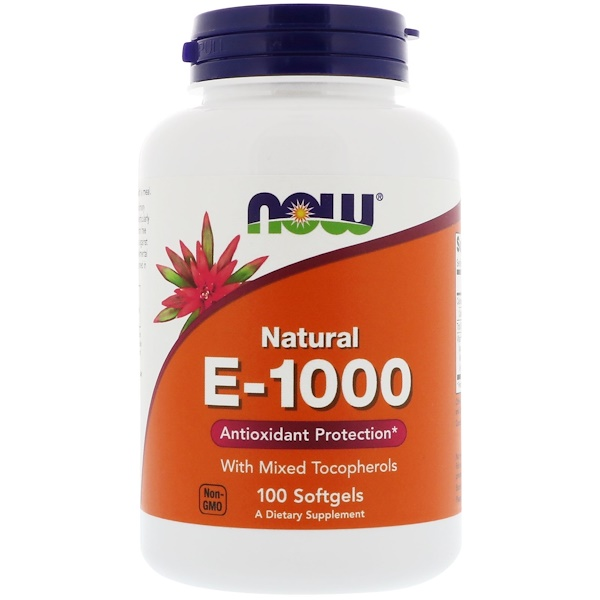 Now Foods, Vitamines E-1000, 100 gélules