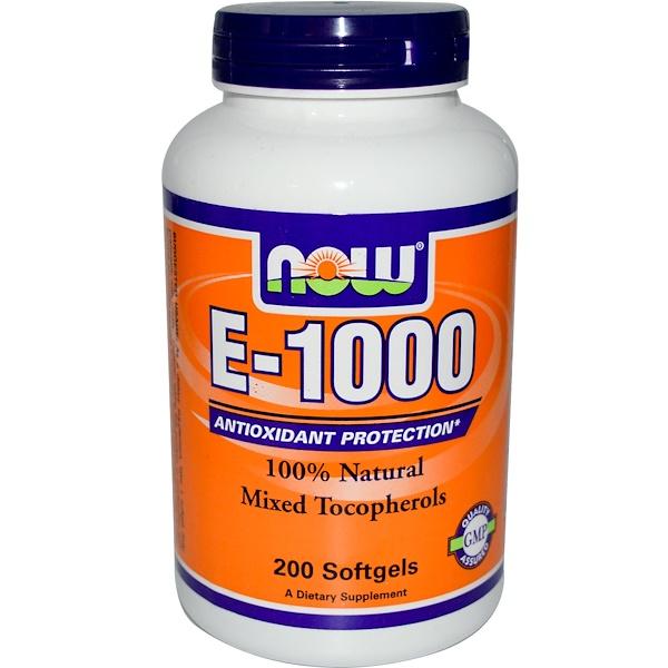 Now Foods, E-1000, 100% Natural Mixed Tocopherol, 200 Softgels (Discontinued Item)