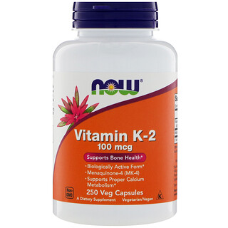 Now Foods, Vitamin K-2, 100 mcg , 250 Veg Capsules