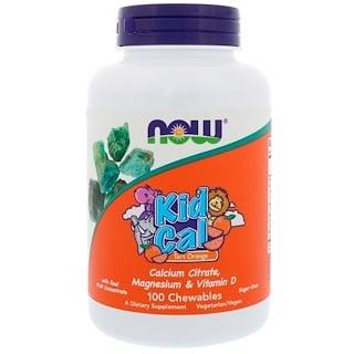 Now Foods, Kid Cal, жевательные витамины, апельсин с кислинкой, 100 жевательных витамин