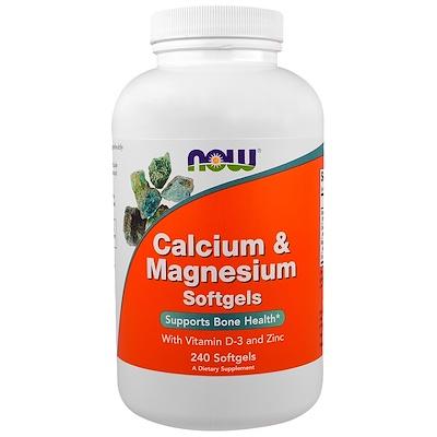 Купить Кальций и магний, с витамином D-3 и цинком, 240 мягких таблеток