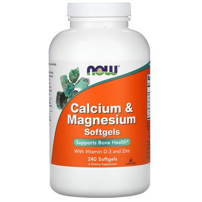 Now Foods кальций и магний с витаминомD3 и цинком, 240мягких капсул