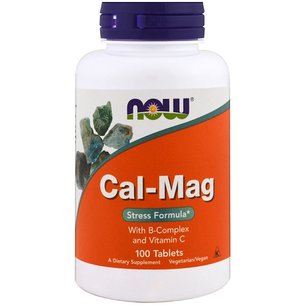 Now Foods, Cal-Mag, formule anti stress, 100 comprimés