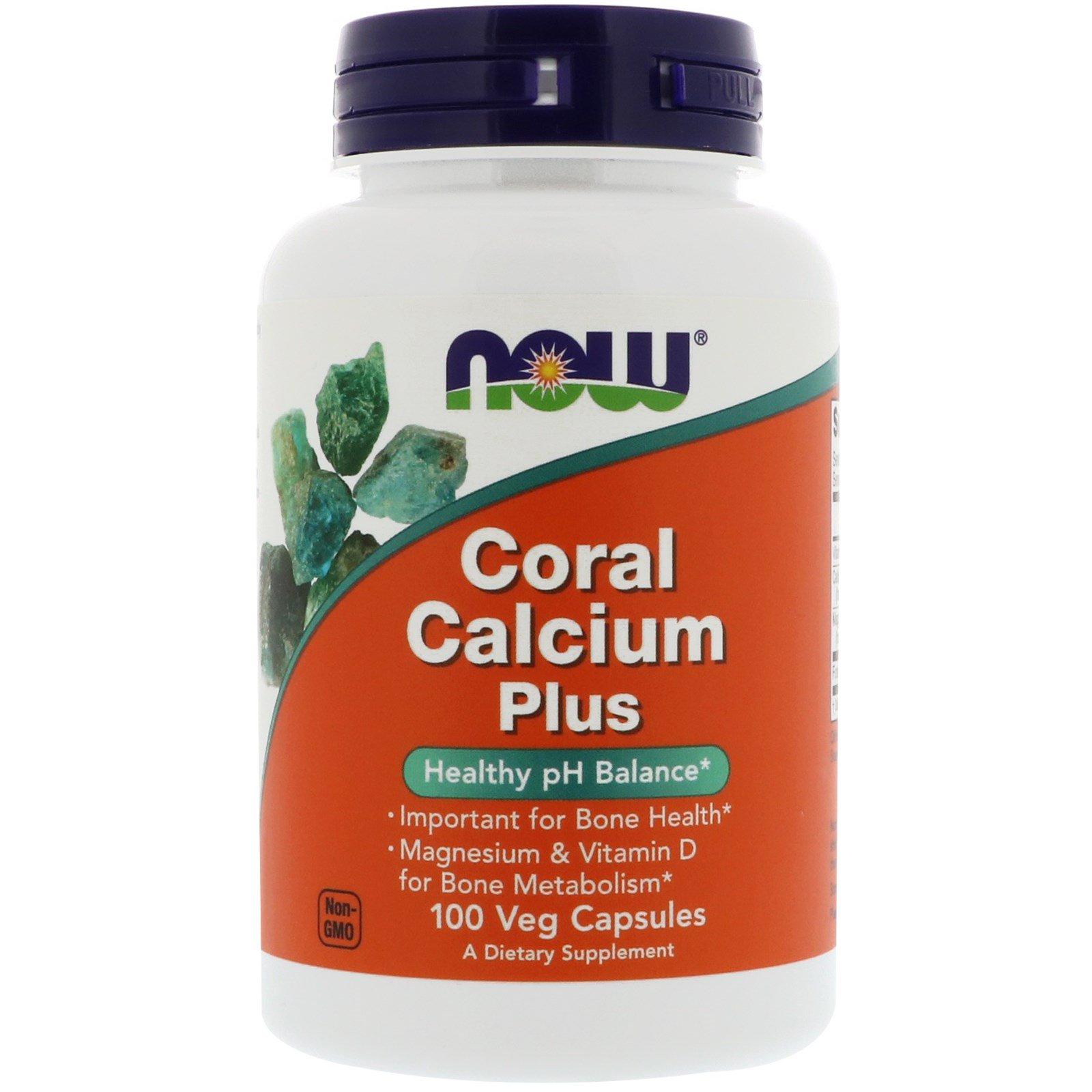 Now Foods, Коралловый кальций Плюс, 100 капсул в растительной оболочке
