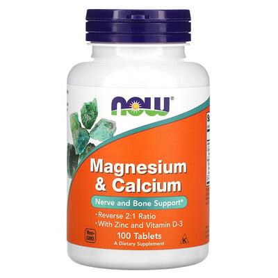 Купить Now Foods магний и кальций, 100таблеток