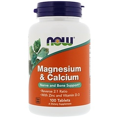 Now Foods, Magnesium & Calcium, Reverse 2:1 Ratio with Zinc and Vitamin D-3, 100 Tablets