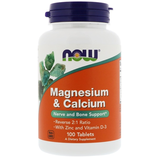 Magnesium & Calcium, Reverse 2:1 Ratio with Zinc and Vitamin D-3, 100 Tablets
