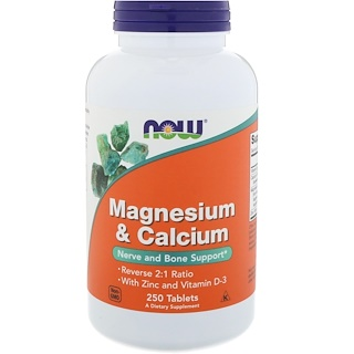 Now Foods, Magnesium & Calcium, Reverse 2:1 Ratio with Zinc and Vitamin D-3 250 Tablets