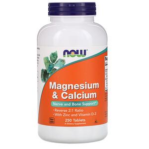 Now Foods, Magnesium & Calcium, 250 Tablets отзывы покупателей