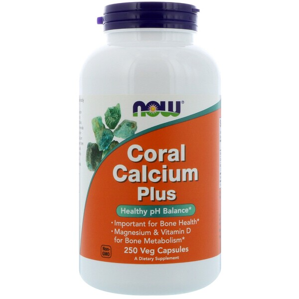 Now Foods, Coral Calcium Plus، 250 كبسولة نباتية