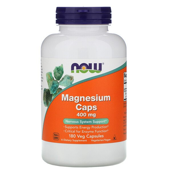 Now Foods, Magnesium Caps, 400 mg, 180 Veg Capsules
