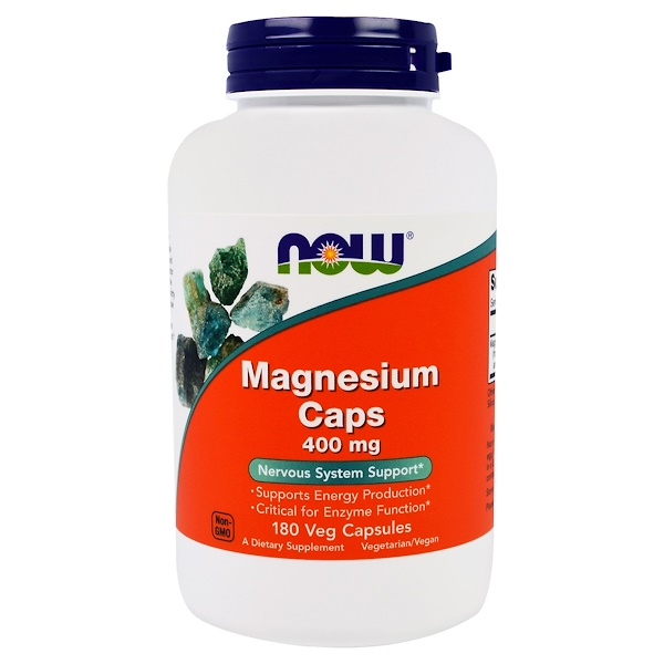 Now Foods, Magnesium Caps, 400 mg, 180 Capsules