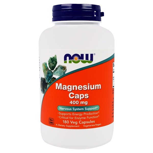 Now Foods, Magnesium Caps, 400 mg, 180 Veggie Caps
