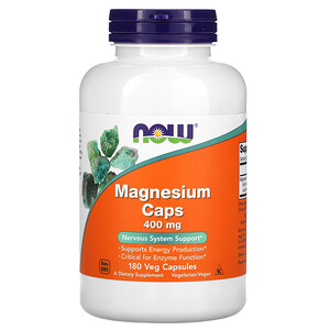 Now Foods, Magnesium Caps, 400 mg, 180 Veg Capsules отзывы покупателей