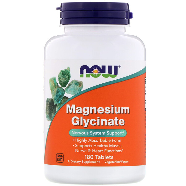 Now Foods, Glycinate de magnésium 180 comprimés