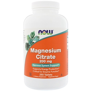 Now Foods, Magnesiumcitrat, 200 mg, 250 Tabletten
