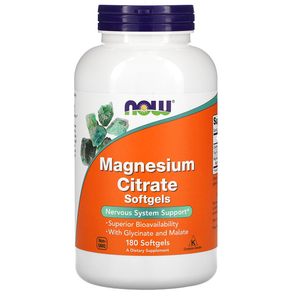 Now Foods, Magnesium Citrate, 180 Softgels