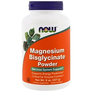 Now Foods, Magnesium Bisglycinate Powder, 250mg, 8oz