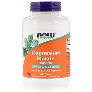 Now Foods, Magnesium Malate, 1.000 mg, 180 Tabletten