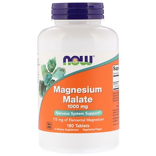 Now Foods, Magnésium Malate, 1 000 mg, 180 comprimés