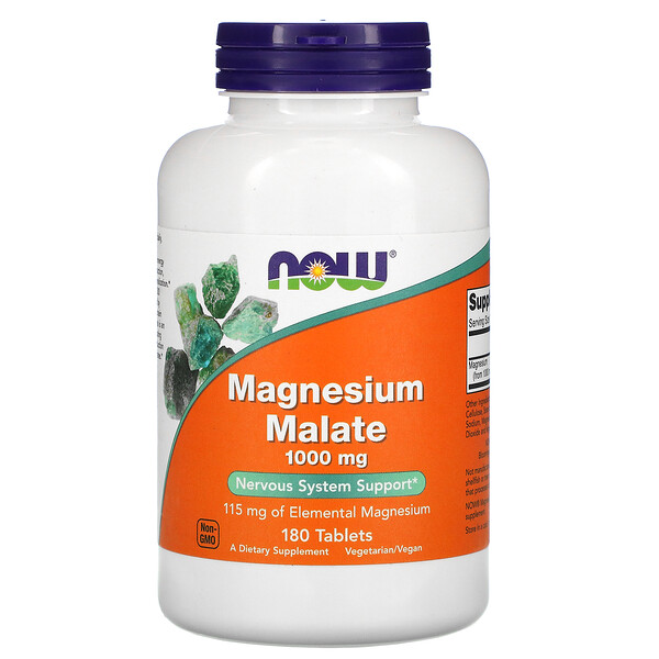 Now Foods, Malate de magnésium, 1000 mg, 180 comprimés