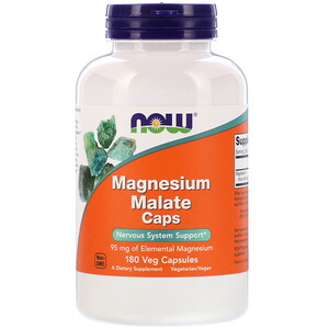 Now Foods, Magnesium Malate Caps, 180 Veg Capsules
