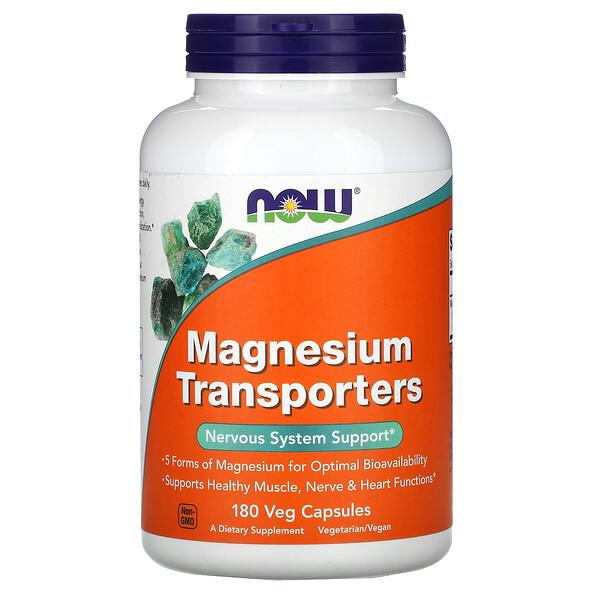 Now Foods, Magnesium Transporters, 180cápsulas aptas para vegetarianos