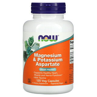 Now Foods, Magnesium & Potassium Aspartate, 120 Veg Capsules