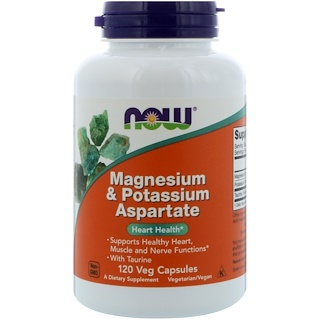 Now Foods, Аспартат магния и калия, 120 капсул