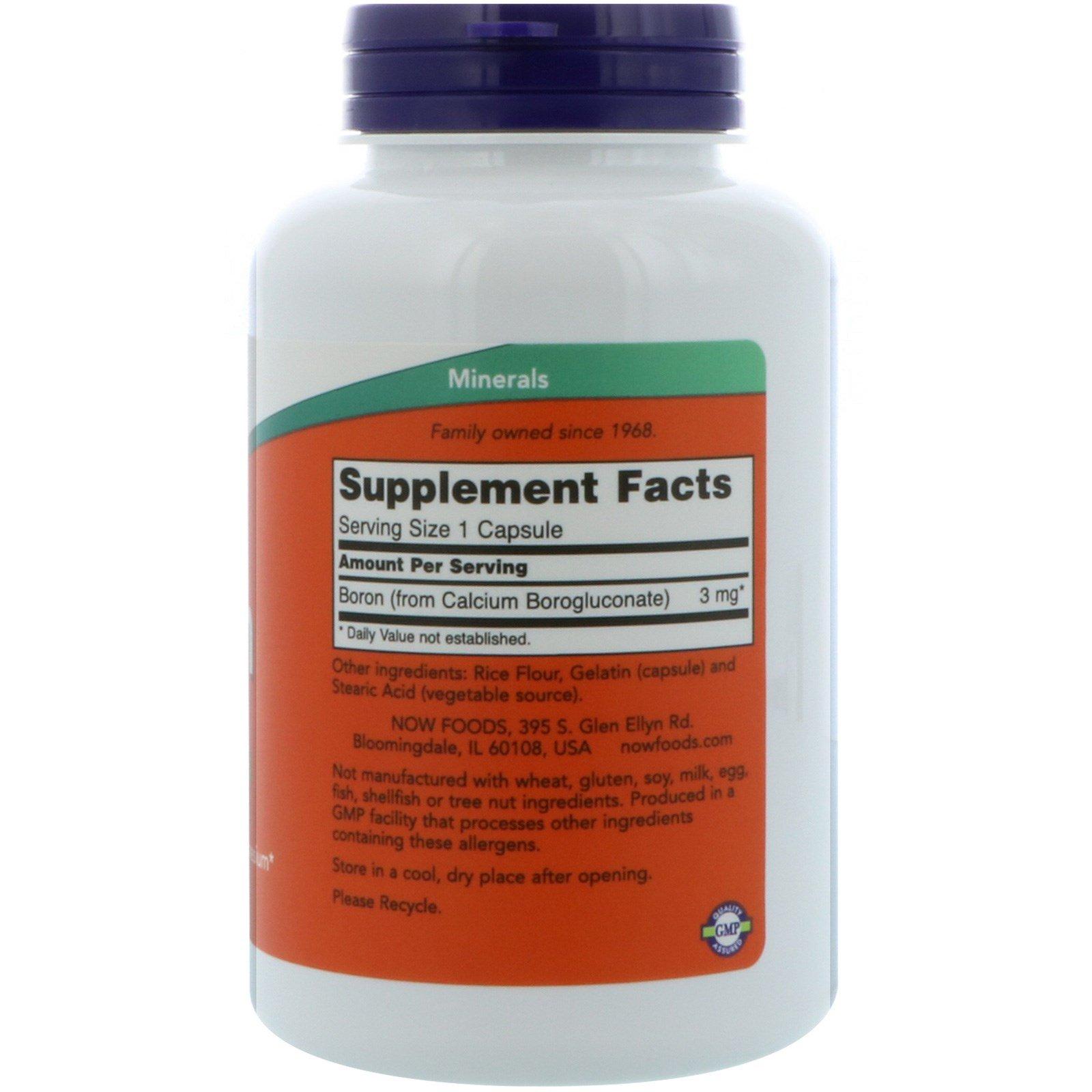 Now Foods, Boron, 3 mg, 250 Capsules - iHerb com
