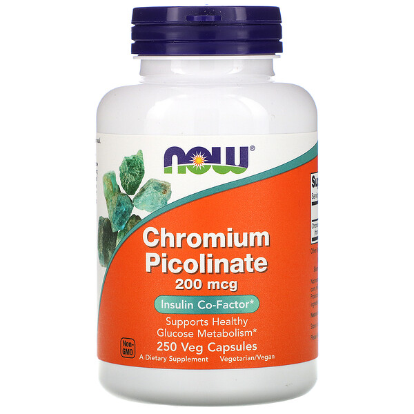 Now Foods, Chromium Picolinate, 200 mcg, 250 Veg Capsules