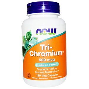 Now Foods, Tri-Chromium, 500 mcg, 180 Veg Capsules отзывы покупателей